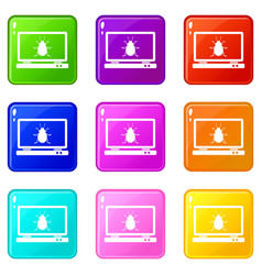 laptop icons 9 set vector image