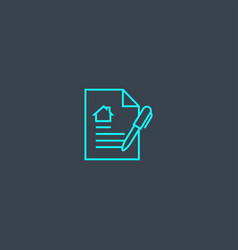 Lease contract concept blue line icon simple thin vector