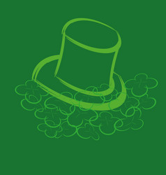leprechaun hat and clover vector image