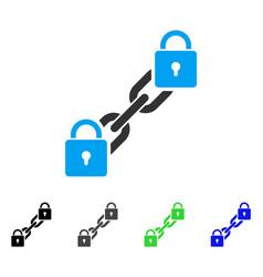 Lock blockchain flat icon vector