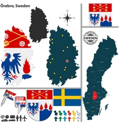 Map of Orebro vector image