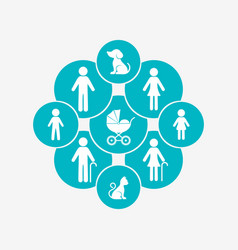 modern family design template with icons vector image