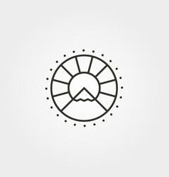 Mountain sun line art icon logo symbol design vector