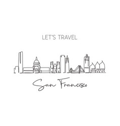 one single line drawing san francisco city vector image
