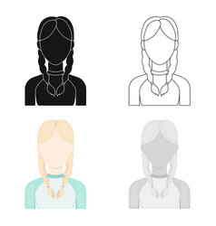 Pigtails icon cartoon single avatarpeaople icon vector