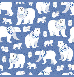 polar bear blue stars seamless repeating pattern vector image