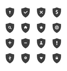 protection shields icon set vector image
