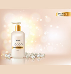 Pump top bottle with organic cosmetic lotion vector