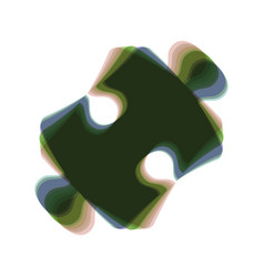 Puzzle piece sign colorful icon shaked vector