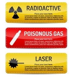 Radioactive Poisonous Gas Laser - Danger sign set vector