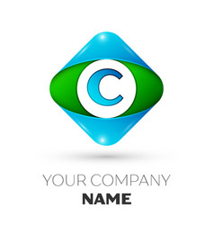 Realistic letter c logo in colorful rhombus vector