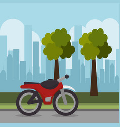red motorcycle transport city urban landscape vector image