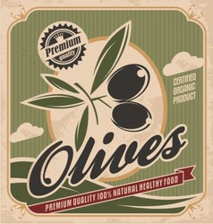 Retro olive poster design vector