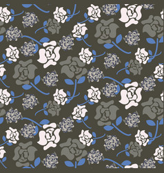 Rose flowers grey and blue floral dark pattern vector