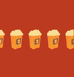 seamless border with popcorn buckets vector image