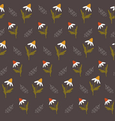 seamless pattern with colorful wild camomiles vector image