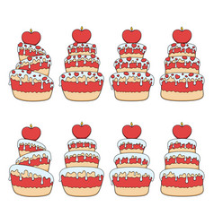 set color with red and white cake vector image