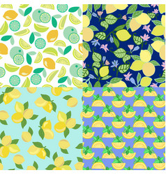 Set of background with lime lemon slices and vector