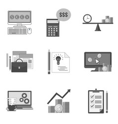 set of business icons and symbols in trendy flat vector image