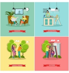 Set of family and housewife concept banners vector