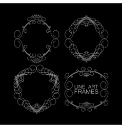 set of floral monogram frames line art vector image