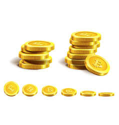 Shiny bitcoins in piles and neat row isolated vector
