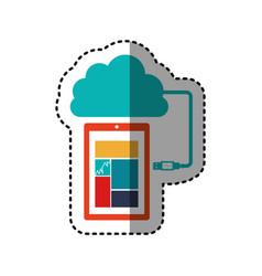 Sticker tech smartphone cloud storage vector