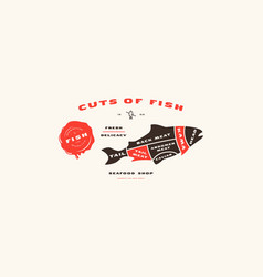 Stock fish cuts diagram in flat style vector