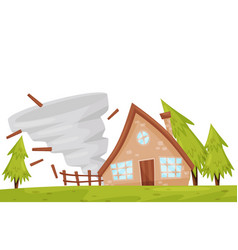 Strong tornado near residential house natural vector