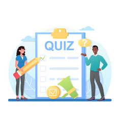 Taking a quiz on clipboard with checklist vector