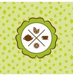 Tea icons set with lemon seamless pattern on vector