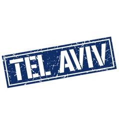 tel aviv blue square stamp vector image