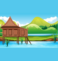 thai style house in the water vector image