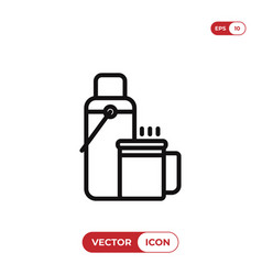 thermos with hot drink icon vector image