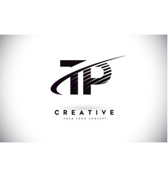 Tp t p letter logo design with swoosh and black vector