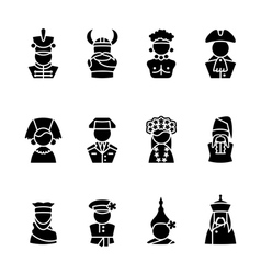 Twelve human black silhouette icons isolated on wh vector