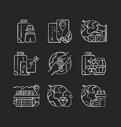 types tourism chalk white icons set on dark vector image