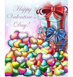 valentines day gifts with hearts vector image