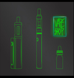 vape shop set neon vector image