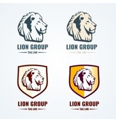 Vintage lion logotypes set vector image