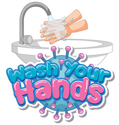 Wash your hands poster design for wash your hands vector