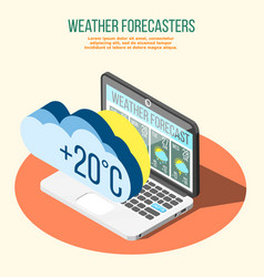 Weather forecasters isometric composition vector