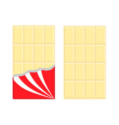 white chocolate bar icon set opened red wrapping vector image