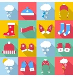 Winter clothes icons set flat style vector