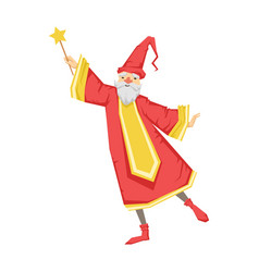 Wizard holding a wand colorful fairy tale vector