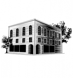 Woodcut building vector