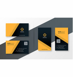 Yellow and black simple business card design vector