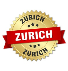 Zurich round golden badge with red ribbon vector