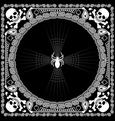 bandana pattern skull and spider vector image