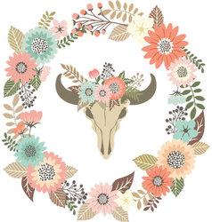 Bull skull floral with wreath laurel invitation vector